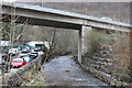 SO2001 : Ebbw River, under A467 bridge, Aberbeeg by M J Roscoe