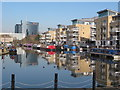 TQ1777 : The Island, Brentford, with canal and boats by David Hawgood