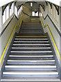 SJ3478 : Steps on the former footbridge at Hooton station by John S Turner