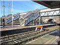 SJ3478 : The historic footbridge at Hooton railway station by John S Turner