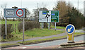 J3193 : Roundabout sign, Ballynure (March 2016) by Albert Bridge
