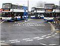 ST3188 : School buses in Market Square bus station, Newport by Jaggery