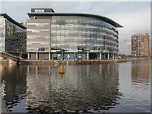 SJ8097 : Manchester Ship Canal and BBC Quay House by David Dixon