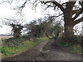 TM4565 : Bridleway to Lovers Lane & entrance to The Round House by Geographer