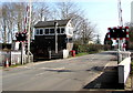 SO4633 : Tram Inn level crossing and signalbox, Allensmore, Herefordshire by Jaggery