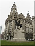 SJ3390 : Edward VII statue in front of the Royal Liver Building by Graham Robson