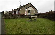 ST6976 : Bench and bungalows, Pucklechurch by Jaggery