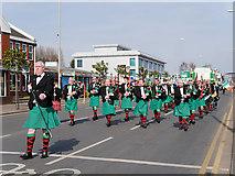 SJ8499 : Manchester Irish Festival Parade, Marching Band on Cheetham Hill Road by David Dixon