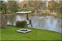 SU9850 : Lakeside sculpture, Surrey University by Alan Hunt