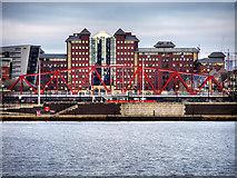 SJ8097 : Erie Basin, The Detroit Bridge and Anchorage Building by David Dixon