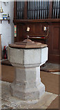 TL9919 : St Andrew, Abberton - Font by John Salmon