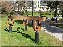 SZ0891 : Bournemouth: tramlines sculpture at Horseshoe Common (1) by Chris Downer