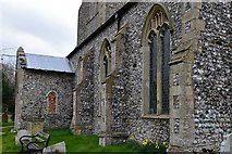 TG2834 : Trunch, St. Botolph's Church: The 15th century south porch with blocked up windows by Michael Garlick