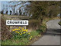 TM1455 : Crowfield Village Name sign on Stone Street by Adrian Cable
