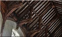 TG2834 : Trunch: St. Botolph's Church: Mid c15th single hammerbeam roof 1 by Michael Garlick