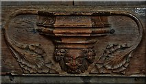 TG2834 : Trunch: St. Botolph's Church: C14th grotesque misericord 3 by Michael Garlick