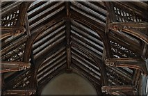 TG2834 : Trunch: St. Botolph's Church: Mid c15th single hammerbeam roof 2 by Michael Garlick