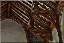 TG2834 : Trunch: St. Botolph's Church: Mid c15th single hammerbeam roof 4 by Michael Garlick