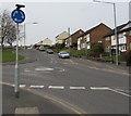 ST2890 : Mini-roundabout sign, Monnow Way, Bettws, Newport by Jaggery