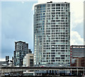 J3474 : The Boat and the Obel Tower, Belfast (March 2016) by Albert Bridge