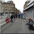 SP0786 : Tram tracks laid in Stephenson Place, Birmingham by Robin Stott