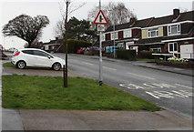 ST3091 : Minor junction warning sign and speed camera sign, Rowan Way, Malpas, Newport by Jaggery