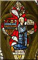 SK9445 : Detail of Medieval glass, St Nicholas' church, Carlton Scroop by Julian P Guffogg