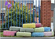 J3674 : Multi-coloured tyres, Belfast (April 2016) by Albert Bridge