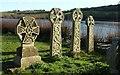 SX1156 : Celtic crosses, St Winnow by Derek Harper
