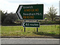 TM1154 : Roadsigns on the A140 Norwich Road by Geographer