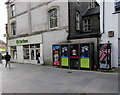 SS9079 : Four BT phoneboxes in Bridgend town centre by Jaggery
