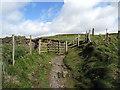SN5884 : Gate on the Wales Coastal Path by John Lucas