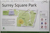 TQ3378 : Surrey Square Park sign near Kinglake Street entrance, Walworth by Robin Stott