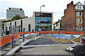 TQ3276 : The new Camberwell Library and the reconstruction of Camberwell Green, the road by Robin Stott