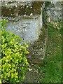 SP9499 : Bench mark, St Peter's Church, Barrowden by Alan Murray-Rust