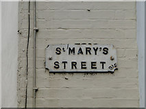 TM3389 : St Marys Street, Bungay; Peace Year commemoration street sign by Adrian S Pye