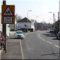 SS5499 : Ysgol/School warning sign, Bynea by Jaggery