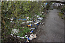 TA0827 : Litter alongside the Clive Sullivan Way, Hull by Ian S