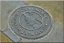 J4569 : Belfast and County Down Railway ground plaque, Comber (April 2016) by Albert Bridge