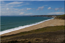 SW6423 : Loe Bar from above the HMS Anson monument by Christopher Hilton