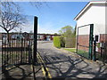 ST3387 : Nash Road entrance to Lliswerry Primary School, Newport by Jaggery
