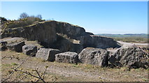 SK3455 : The cliff top barrier at Crich Quarry by Dr Duncan Pepper