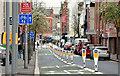 J3373 : Two-way cycle lane, Upper Arthur Street, Belfast (April 2016) by Albert Bridge