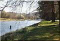 SO0451 : River Wye angler, Builth Wells by Julian Osley