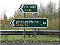 TM1054 : Roadsigns on the A140 Norwich Road by Adrian Cable