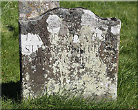 NT8541 : An old gravestone at Lennel Parish Churchyard by Walter Baxter