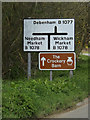 TM1853 : Roadsigns on the B1077 Ashbocking Road by Adrian Cable