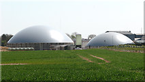 TF9038 : Domes of the anaerobic digester plant at Egmere by Evelyn Simak