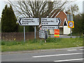 TM1853 : Roadsigns on the B1078 Ashbocking Road by Adrian Cable