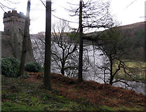 SK1789 : Derwent Reservoir dam wall through the trees by Andrew Tatlow